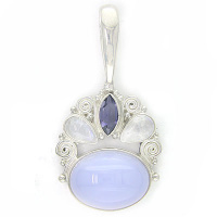 Blue Chalcedony Pendant with Rainbow Moonstone and Iolite