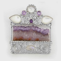 Amethyst Crystal Pin-Pendant with Mother of Pearl, Moonstone, and Amethyst