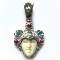 Goddess Pendant with Aquamarine, Sky Blue Topaz and Ruby