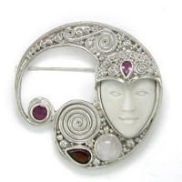 Goddess Pin-Pendant with Rose Quartz, Garnet, Pink Tourmaline and Ruby