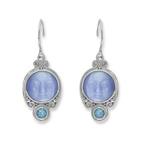 Blue Fiber Optic Goddess Earrings with Swiss Blue Topaz