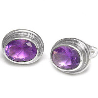 Sterling Amethyst Oval Post Earrings