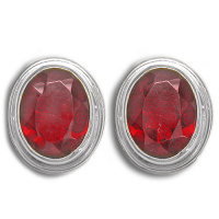Sterling Garnet Oval Post Earrings
