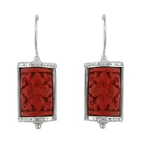 Silver Dangle Earrings with Floral Cinnabar