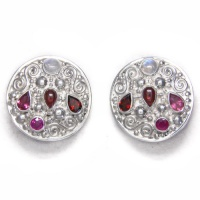 Ruby, Garnet, Pink Tourmaline and Rainbow Moonstone Clip-On Earrings