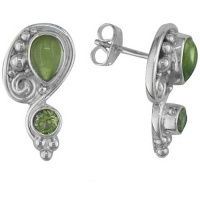 Sterling Silver Peridot Post Earrings