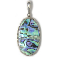 Sterling Silver Paua Shell Oval Pendant with Decorative Bezel