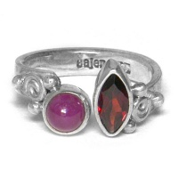 Wrap-Around Garnet and Ruby Ring
