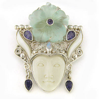 Goddess Pin-Pendant with Blue Crystal Flower, Iolite, Mother of Pearl & Opal
