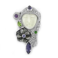 Goddess Pin-Pendant with Black Rainbow Shell Flower, Iolite, Peridot, Amethyst, Rainbow Moonstone, and Chrome Diopside