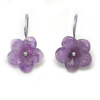 Carved Amethyst Flower Earrings