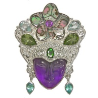 Amethyst Goddess Pin-Pendant with Abalone Flower, Amethyst, Sky Blue Topaz, Peridot, Chrome Diopside & Apatite
