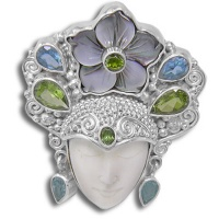 Goddess Pin-Pendant with Black Mother of Pearl Flower, Peridot, Apatite, Green Tourmaline, Blue Topaz & Vesuvanite