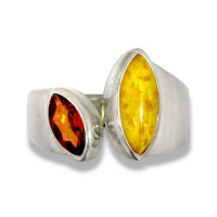 Amber and Garnet Ring