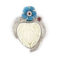 Flower Goddess Pin-Pendant with Turquoise and Garnet