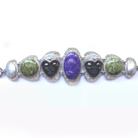 Double Hematite Goddess Bracelet with Charoite, Opal, Russian Serpentine and Mabe Pearl