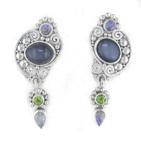 Moonstone Clip Earrings with Peridot and Rainbow Moonstone