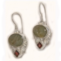 Labradorite and Garnet Latch Back Earrings