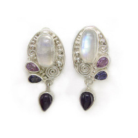 Rainbow Moonstone, Amethyst & Iolite Clip Earrings
