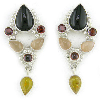 Onyx, Amber, Garnet, and Pink Moonstone Clip-on Earringsv
