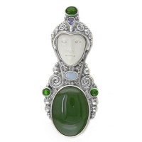 Goddess Pin-Pendant with Jade, Chrome Diopside and Tanzanite