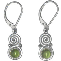 Sterling Silver Swirl and Cabochon Peridot Eurowire Earrings