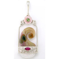 Ocean Jasper Wave Pendant with Pink Mother of Pearl Flower, Peridot and Pink Topaz