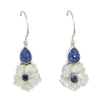 Mother of Pearl Flower, Titanium Druzy & Iolite Latchback Earrings