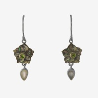 Paua Shell Flower Earrings with Rainbow Moonstone & Peridot