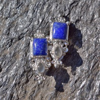 Lapis and Moonstone Clip-On Earrings