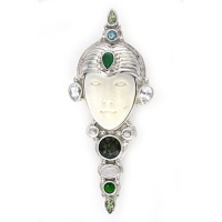 Goddess Pin-Pendant with Emerald, Moldavite, Peridot, Rainbow Moonstone, Chrome Diopside & Topaz