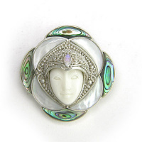 Goddess Pin-Pendant with Mother of Pearl, Paua Shell, and Opal