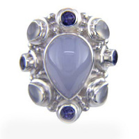 Blue Chalcedony, Rainbow Moonstone & Iolite Ring