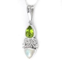 Peridot and Rainbow Moonstone Pendant with Chain