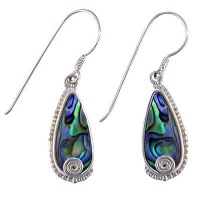 Paua Shell Dangle Earrings with Silver Swirl
