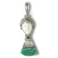 Goddess Pendant with Amazonite, Emerald, and Moonstone