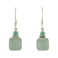 Aquamarine & Apatite Dangle Earrings