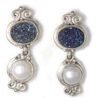 Pearl and Caribbean Druzy Post Earrings