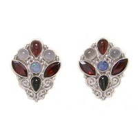 Opal Doublet, Garnet, Black Star Diopside, and Moonstone Post Earrings