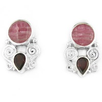 Rhodocrosite and Garnet Post Earrings