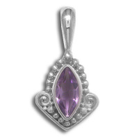 Sterling Silver Amethyst Marquis Pendant