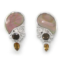 Rainbow Brown Shell Post Earrings with Smoky Quartz and Citrine