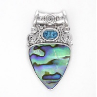 Paua Shell Trillion Pendant with Swiss Blue Topaz