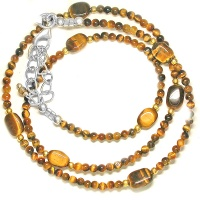 Tiger Eye Beaded Necklace with Vermeil