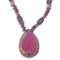Rose Faceted Window Druzy with Citrine, Garnet, Rose Quartz Beads Necklace