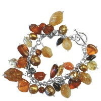 Amber Multi-Gemstone 1-Of-A-Kind Charm Bracelet