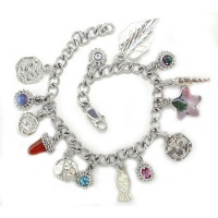 Om Charm Bracelet with Multiple Charms