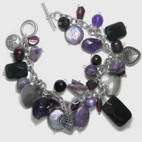Amethyst, Garnet and Pearl Charm Bracelet with Sterling Silver Hearts