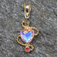 Rainbow Champagne Quartz Pendant with Mexican Fire Opal, Citrine and Vermeil Beadwork