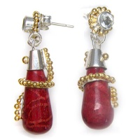 Sterling Red Coral & Aquamarine Earrings with Vermeil Beadwork